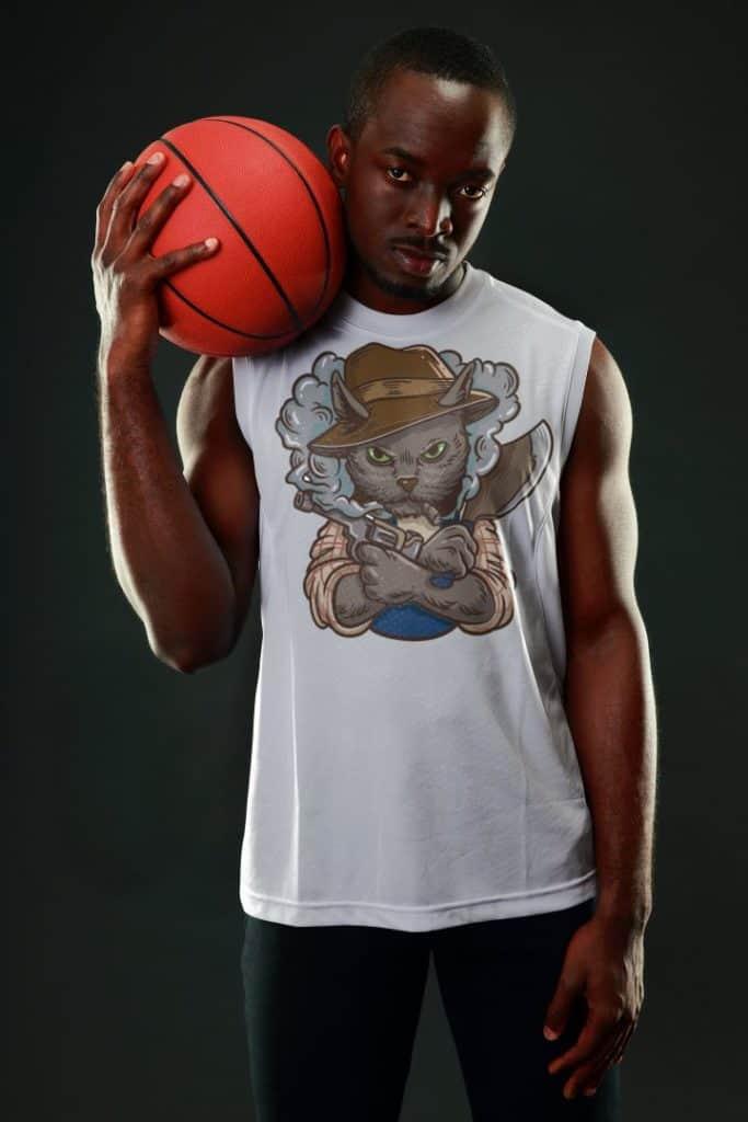 sleeveless shirt mockup of a man holding a basketball