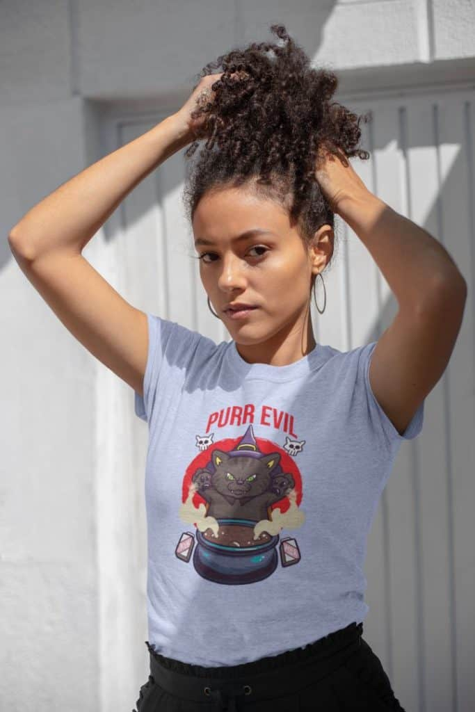 t shirt mockup featuring a beautiful young woman playing with her hair