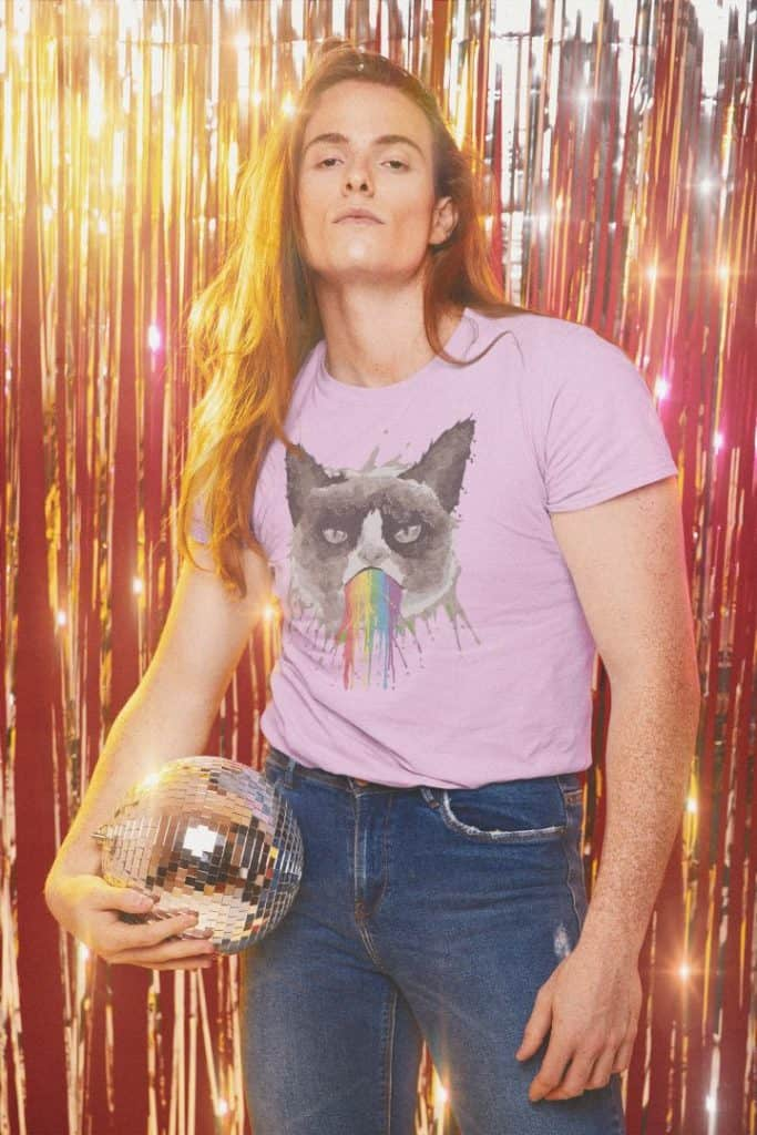 t shirt mockup with a long haired man holding a disco ball in his hand