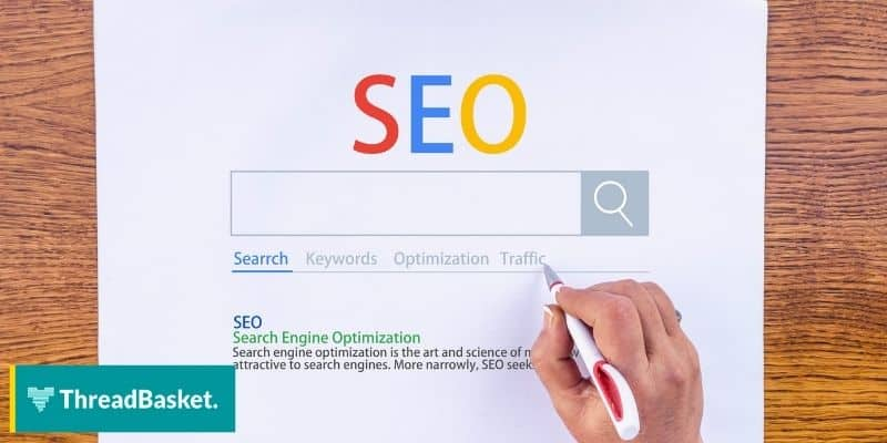 A paper with a printed google search result but with SEO label