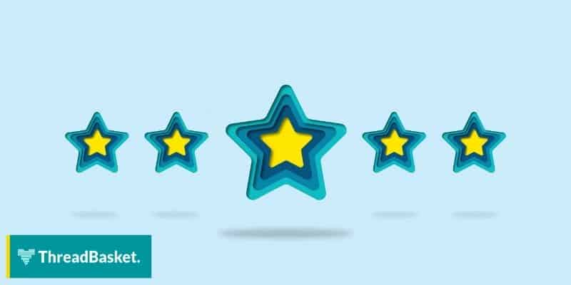 blue green and yellow 5 star review rating