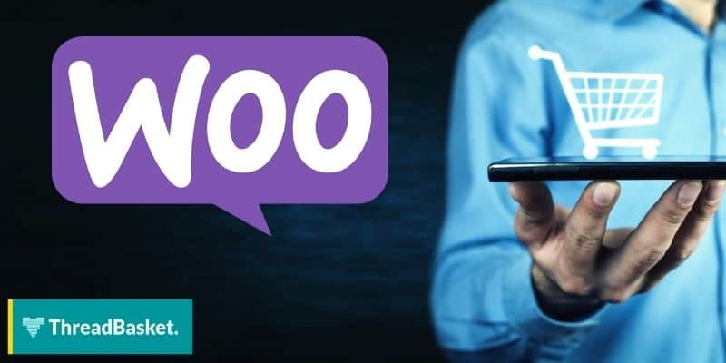 person holding a tablet and a logo of woocommerce