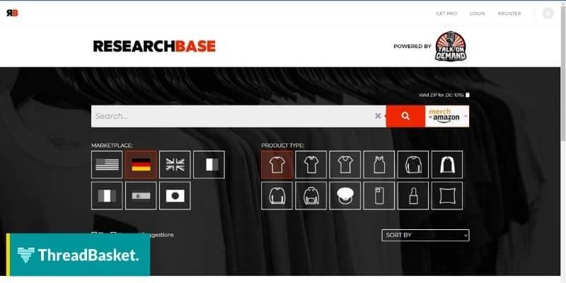 screenshot of merch research website desktop format